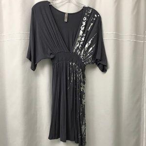Flowy, stretchy metallic silver detail dress